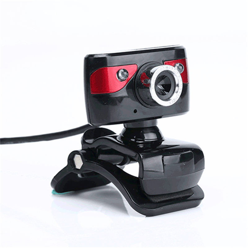 HD 12M Pixels USB Computer Cam era Webcam 360 Degree Rotatin g 2 LED Light With Sound-Abso rbing Microphone MIC For PC Laptop