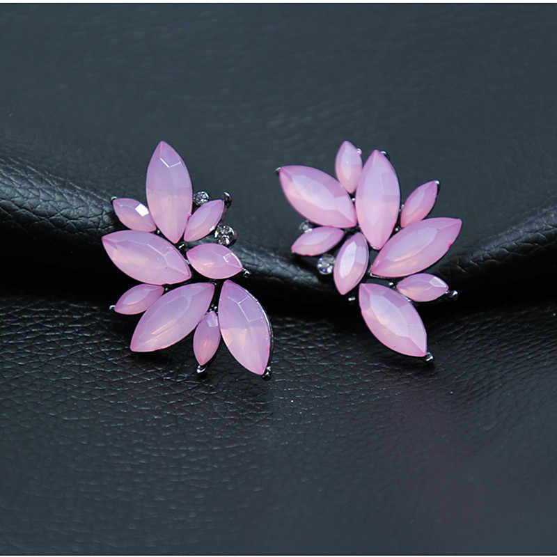 2018 New Women's Fashion Wings Earrings Rhinestone RED / Pink Glass Black Resin Sweet Metal Leaf Ear Earrings For Girl e0160