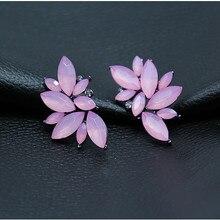 2018 nuevos pendientes de alas de moda para mujer con diamantes de imitación rojo/Rosa cristal negro resina dulce hoja de Metal pendientes para chica e0160