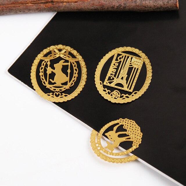 10 PCS Bonito do Ouro Metal Marcador Moda Birdcage Gato Crown Grampos para Os Livros de Papel Criativo Produtos de Papelaria