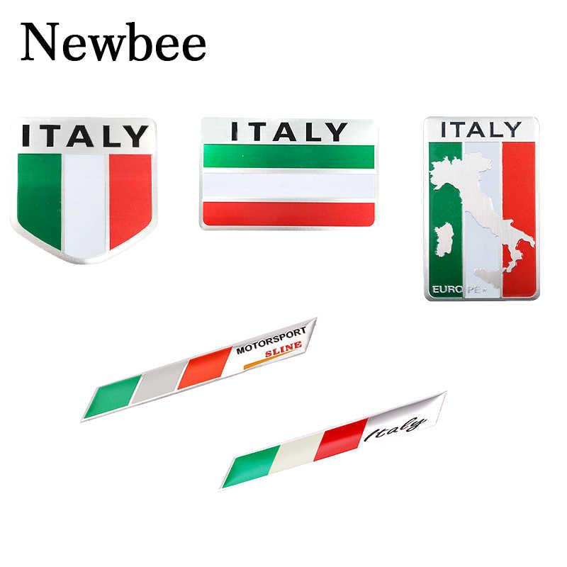 Newbee Mobil Styling Sepeda Motor Stiker Bendera Italia 3D Logam Emblem Lencana untuk Renault Peugeot Citroen Chevrolet Ford VW Benz Skoda