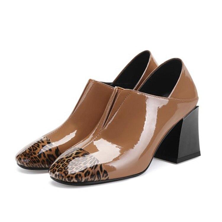 MLJUESE 2019 frauen pumpen Kuh leder leopard Rom stil herbst frühling slip auf quadratischen zehe high heels party kleid größe 34 42-in Damenpumps aus Schuhe bei  Gruppe 3