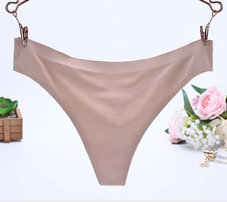 Sexy Mulheres Cueca Invisible G-Cordas de Seda Gelo Seamless Virilha underwear mulher sexy sous vetement femme sexy * z15