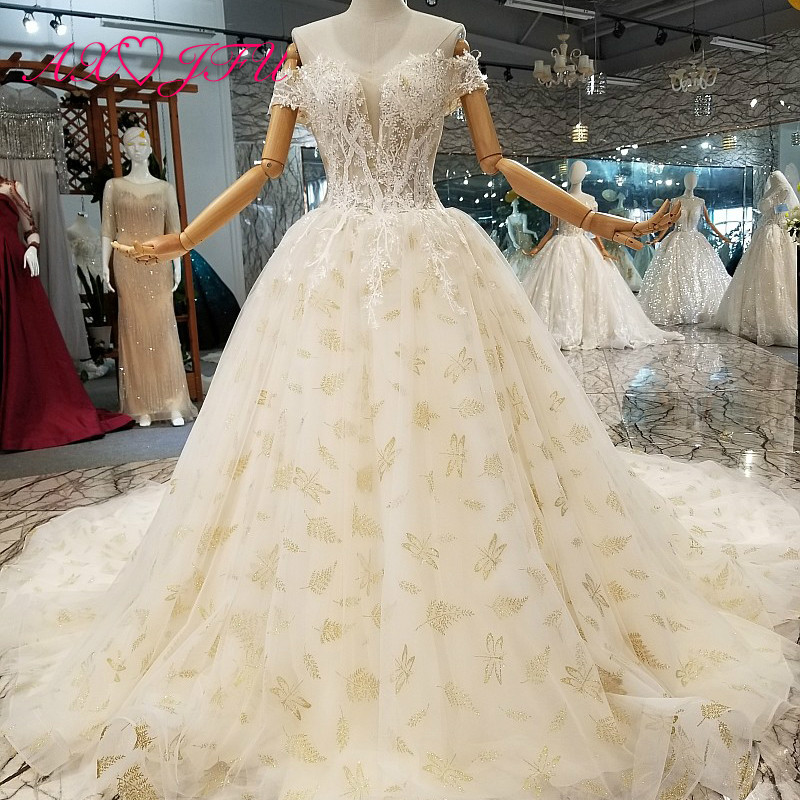 AXJFU luxury princess champagne lace flower wedding dress boat neck crystal beading turkey wedding dress 100% real photo 247011
