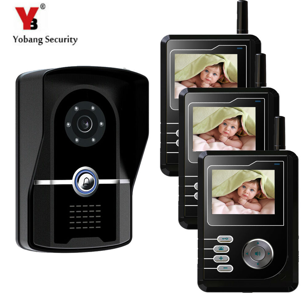 YobangSecurity 2.4G 2.4TFT Wireless Video Door Phone Doorbell Home Security Intercom With Recording function 3 Monitor 1 Camera yobangsecurity wireless video door phone doorbell intercom video entry intercom system with triple receivers 3 wireless receiver