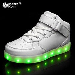 Size25 40 dzieci LED buty dla dzieci chłopców świecące tenisówki z Luminous sole buty do biegania z światła krasovki z podświetleniem w Trampki od Matka i dzieci na