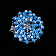 Religious Jewelry 8mm Six-Color Pearl Rosary Pendant Necklace Alloy Cross Virgin Mary Center Christian Catholic Religious Jewelr christian and religious poems