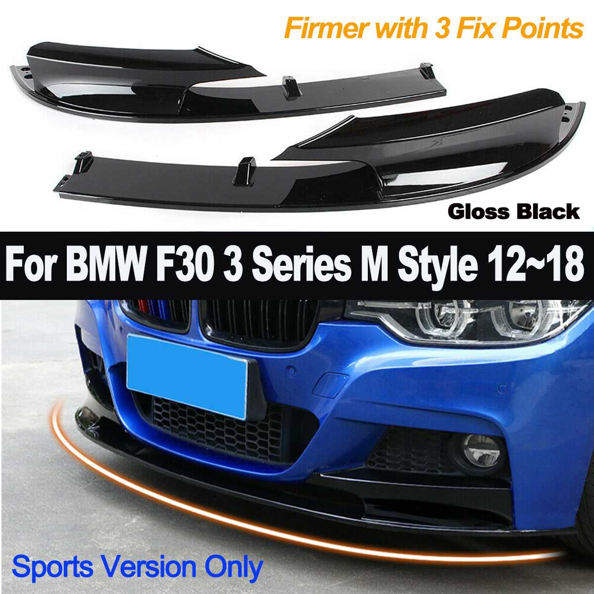 2pcs Gloss Black Front Bumper Cover Lip for BMW F30 3 Series M Style 2012-2018 Car Styling ABS Bumper Only for Sports Version