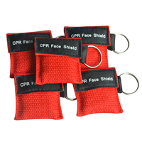 Wholesale 500Pcs/Lot CPR Resuscitator Mask Keychain With Free Breathing Barrier Emergency Face Shield Red Pouch Wraped