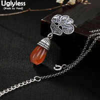Uglyless Real 925 Sterling Silver Natural Agate Magnolia Pendants With Chains Vintage Thai Silver Medal Necklaces Fine Jewelry