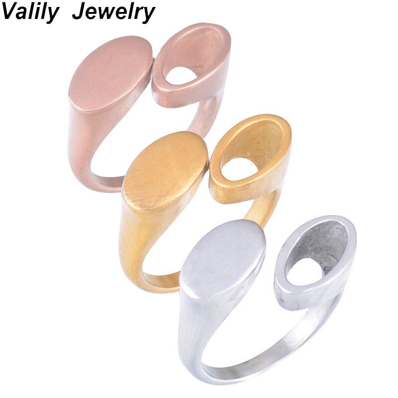 EdgLifU Simple Anneau Femmes Ovale Creux Rose Bague En Or Pour Femme En Acier Inoxydable Bande Ouverture Conception Géométrique Anneaux anel