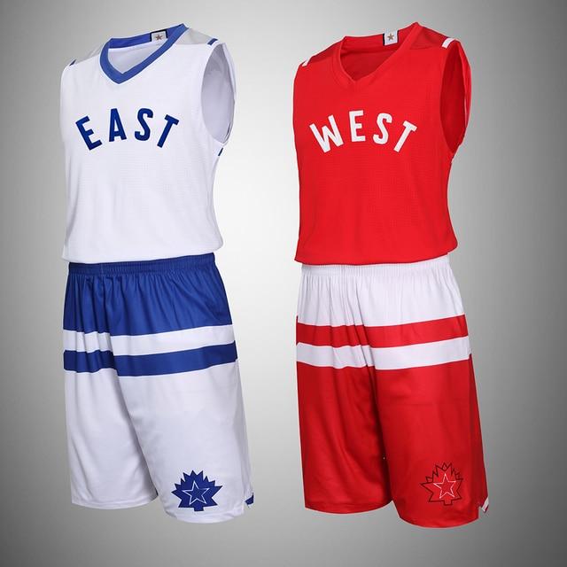 6eb4085ab327 Adsmoney Custom basketball 2016 All Star Western Red Eastern Blue Set  Custom Uniforms Men s Summer Sleeveless