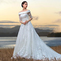 2015 Runway Charming A-line Gorgeous Sexy Boat Neck Wedding Dress Lace Appliques Elegant Robe De Mariage Vestido Noiva
