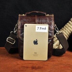 "Image 3 - Quality Original Leather Male Casual Shoulder Messenger bag Cowhide Fashion Cross body Bag 8"" Pad Tote Mochila Satchel bag 144 r"