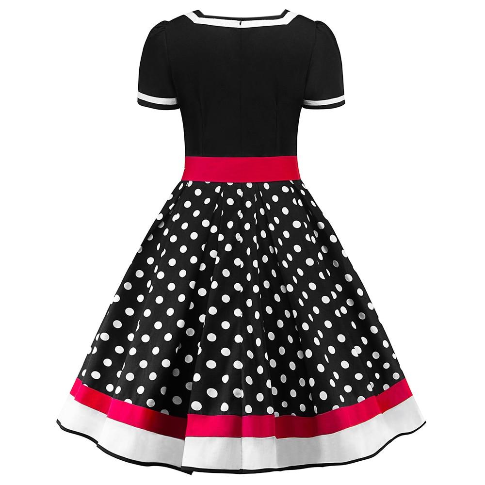 Sleeveless Polka Dots Printed Vintage Pin Up Style Flower Girl Dress 3