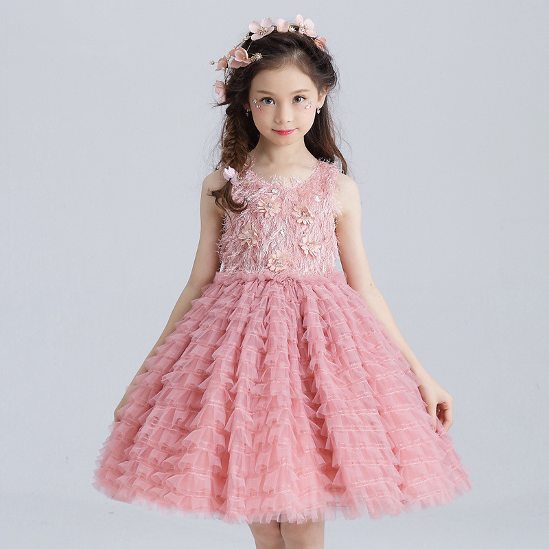 Layered girls dress party wear girls clothes flower girl for Dresses for 10 year olds for a wedding