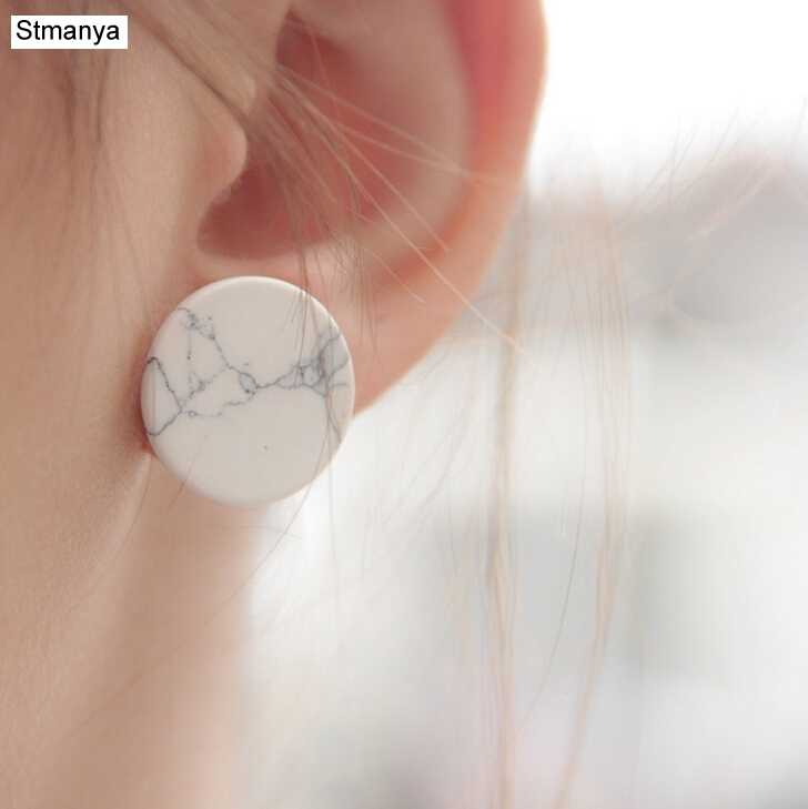 Trendy Fashion Punk Man-Made Faux White Black Geometric Simple Marble Stone Triangle Round square Stud Earrings #12112