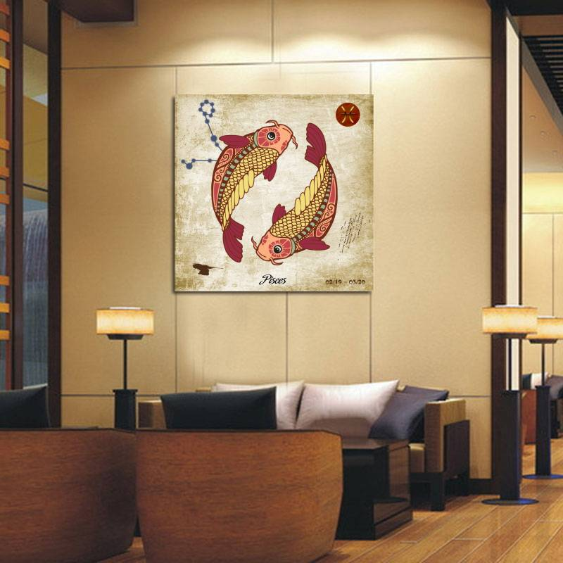 Unframed Big Pisces Printed Painting Oil Painting On Canvas Oil Painting  For Home Decor Bed Room Wall Decoration Birthday Gifts In Painting U0026  Calligraphy ...