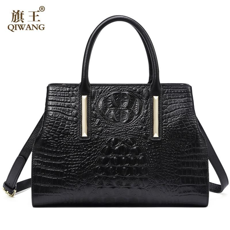 QIWANG Real Leather Women Handbag 2017 New Bag Handmade Women Crocodile Cow Tote Bag for Women High Quality leather Bag