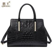 f6d8a8d94f72 (Отправка из RU) QIWANG натуральная кожа женская сумка 2017 новая сумка  ручной работы Женская крокодиловая коровья сумка для женщин Высокое качес.