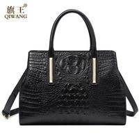 Qiwang натуральная кожа Для женщин сумки Новинка 2017 года сумка ручной работы Для женщин Крокодил коровы Сумка для Для женщин высокое качество ...