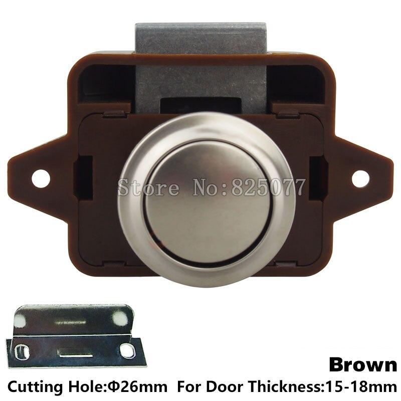 40PCS/Lot DHL Brown ABS Push Lock Button Catch Lock Cupboard Door Knob  Camper Caravan Motorhome RV Cabinet Drawer Latch JF1129