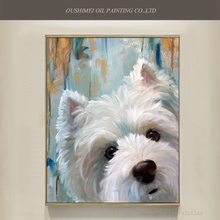 High Skills Artist Hand-painted Quality West Highland White Terrier Dog Oil Painting On Canvas Funny Face
