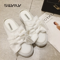 SWYIVY Women S Canvas Shoes Half Slippers Bow 2018 Spring Slip On Girl Lazy Shoes White