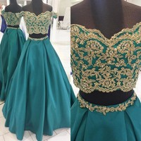 Hot Selling 2 Piece Prom Dresses Boat Neck Off The Shoulder Gold Beaded Lace Satin A Line Long Eveing Gowns Cheap Party Dress