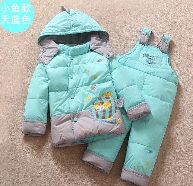 Мальчик девочка пуховик зимой детских пальто пуховик костюм ( 2 шт. ) мальчик одежда