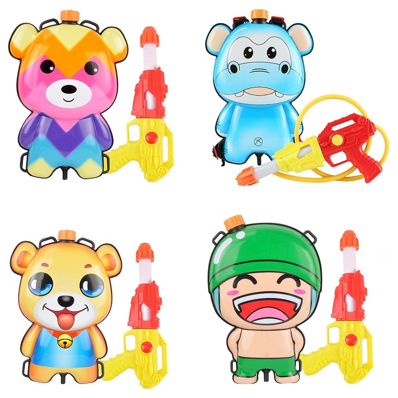 Cute Animals Backpack Water Gun Summer Toy Beach Squirt Toys Water Gun Sprayer Pulling Bag Playset Outdoor Beach Toy Kids Baby