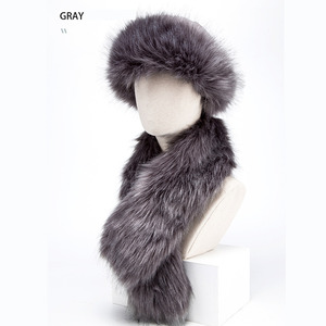 Image 5 - BISON DENIM  2 pcs Faux Fur Hat Winter Warm Russian Cap Earflap Snow Caps hat Ushanka Bomber Hats with Fur Scarf M9495