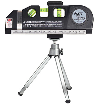 3 Lines Laser Level Horizontal Vertical Cross Right Angle 45 Degree Air Bubble Level Measurement Built-in Tape Ruler with Tripod digital clock