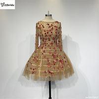 Real Custom Made Champagne Long Sleeves Ball Gown Short Bridesmaid Dress