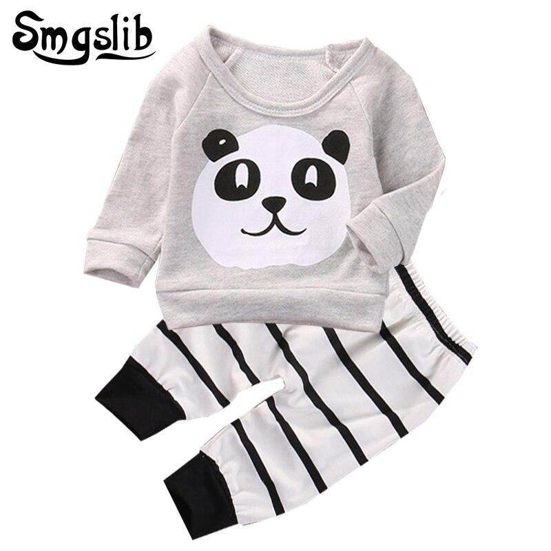 0433d8402 Baby boy cartoon długim rękawem baby girl ubrania zwierząt panda t-shirt +  spodnie z paskiem dziecko urodzone ubrania dziecięce dres 2 sztuk garnitur