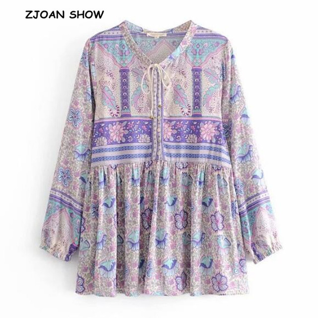 16986208aaabf US $14.13 20% OFF|2019 New Bohemian Lavender Floral Print Pullover Shirt  Ethnic Women Bell Bow Lace Up O neck Long Sleeve Pullover Blouse Tops-in ...