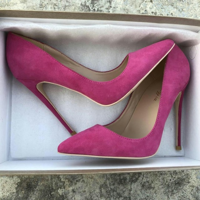 Keshangjia Top Quality Woman Hot Pink High Heel Slip-on Wedding Shoes Pointed Toe Evening Party stilettos Heel Pump 4