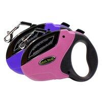 1pcs 5M Large Dog Collar Pet Lead Retractable Dog Leash Pet Traction Rope Chain Harness Purple