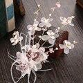 Festa de casamento de noiva romântico rosa fios de seda voile flor com pena pino de cabelo de noiva headband do cabelo acessórios de cabelo jóias