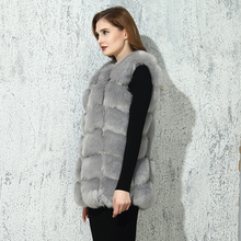 CP Faux Fur Factory Fox Artifical Fur Vest Women Autumn Winter Fox Faux Fur Coat Middle Long Waistcoat Female Faux Fur Wholesale