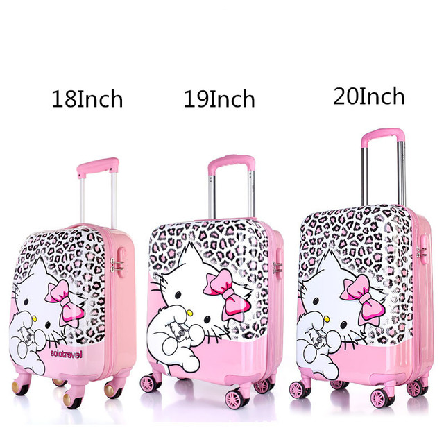 0c1d5753b98 Kids Hello Kitty Travel Suitcase On Wheels 18   19   20   Leopard Designer  Spinner Trolley Bags Girls Cute Cat Carry On Luggage