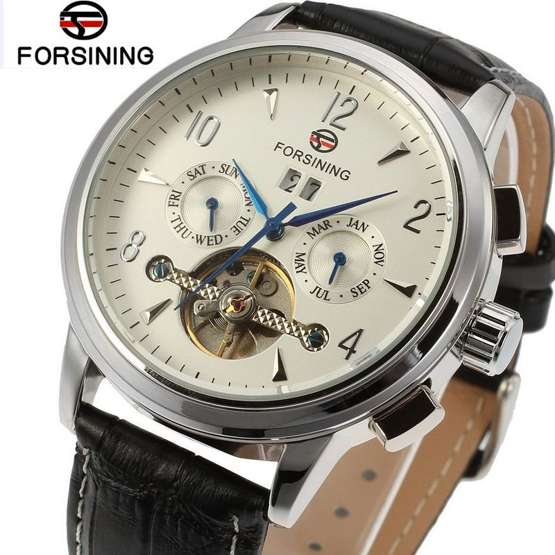Forsining Montre Homme Luxury Watch Mens Men's Day White Dial Tourbillon Auto Mechanical Watches Gift Box Free Ship fosining luxury montre homme watch men s auto mechanical moonpahse genuine leather strap watches wristwatch free ship