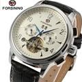 Forsining relógio montre homme luxo mens dia branco dial tourbillon auto relógios mecânicos dos homens caixa de presente navio livre