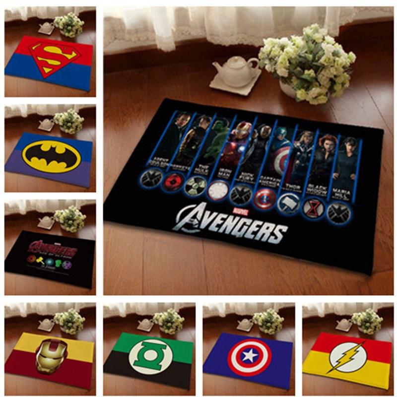 Superman / Batman / US Captain / The Avengers Thicker Mat Doormat Flannel Printing Non-slip Floor Rug  80x120CM Kitchen Carpet
