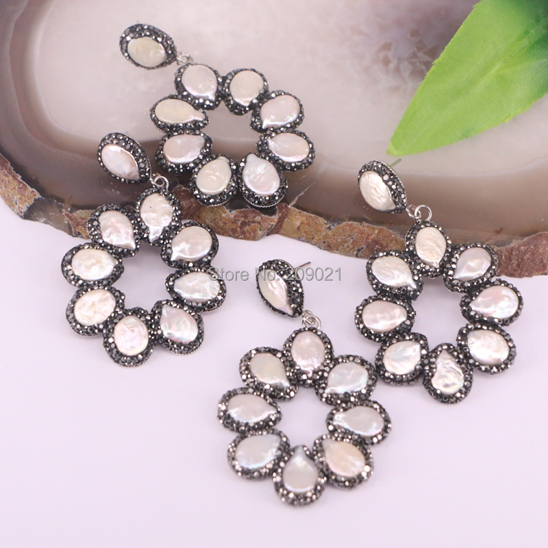 Charms 4pair Paved Rhinestone Pearl Earrings for Women Jewelry party