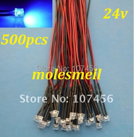 Free Shipping 500pcs Flat Top Blue LED Lamp Light Set Pre-Wired 5mm 24V DC Wired 5mm 24v Big/wide Angle Blue Led