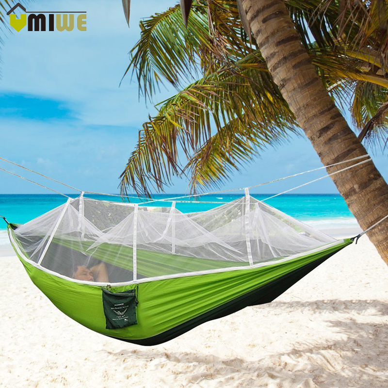 Hiking Camping Hammock Mosquito Net Parachute Fabric Indoor Outdoor Home Garden Beach Hangmat Backpacking Portable Travel Bed portable outdoor traveling camping parachute nylon fabric sleeping bed hammock