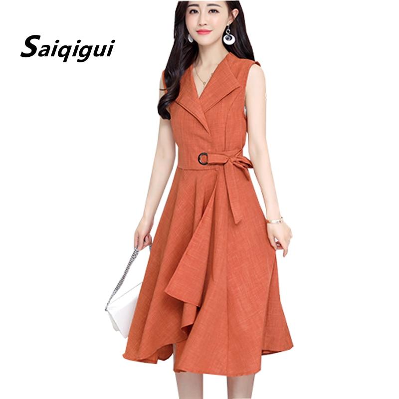Saiqigui 2018 new fashion Summer Dress Sleeveless work OL women dress casual A-Lin v-neck cotton Linen dress vestidos de festa