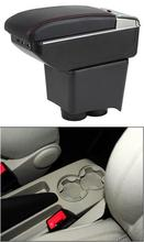 купить Storage Box Center Console Leather Cup Holder Dual Layer Armrest Arm Rest For Volkswagen Polo 9N 2002-2009 2005 2006 2007 2008 онлайн