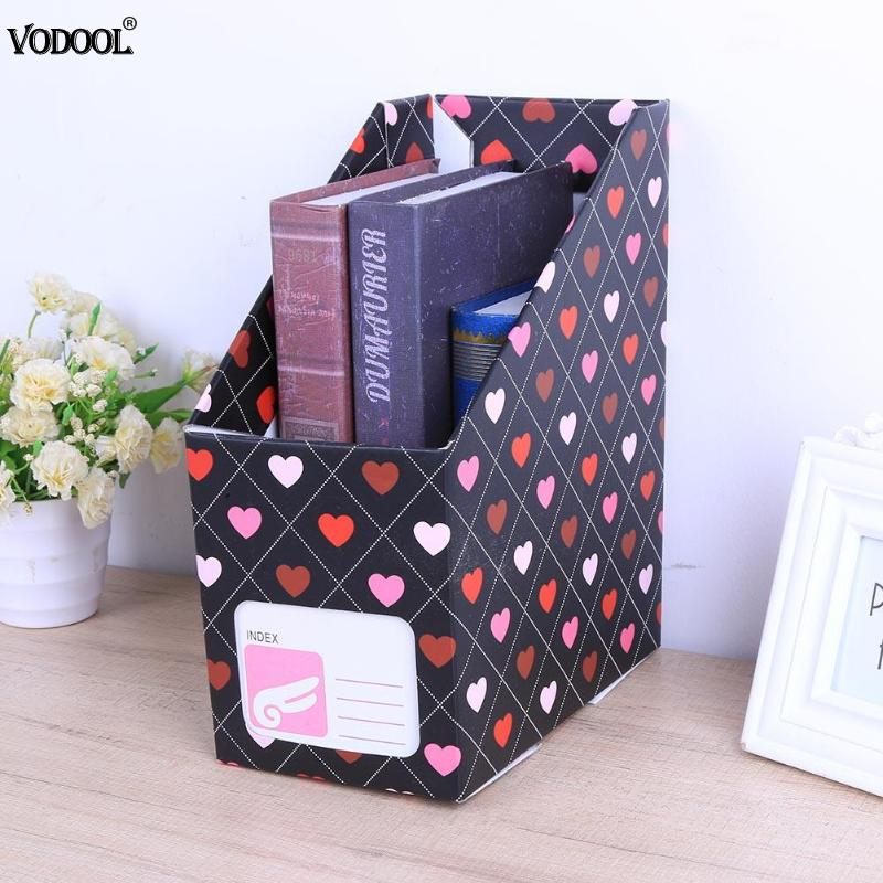 VODOOL Peach Heart File Book Stand Desktop Desk Organizer Magazine Storage Box File Document Stationery Gift Office Supplies 1 set business file tray diy desktop magazine a4 file organizer document trays office supplies stationery random color